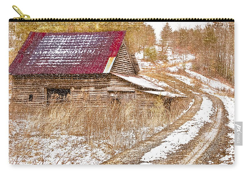 American Carry-all Pouch featuring the photograph Red Roof In The Snow by Debra and Dave Vanderlaan