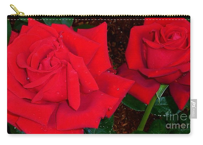 Roses Carry-all Pouch featuring the photograph Red Rose Twins by Susan Garren