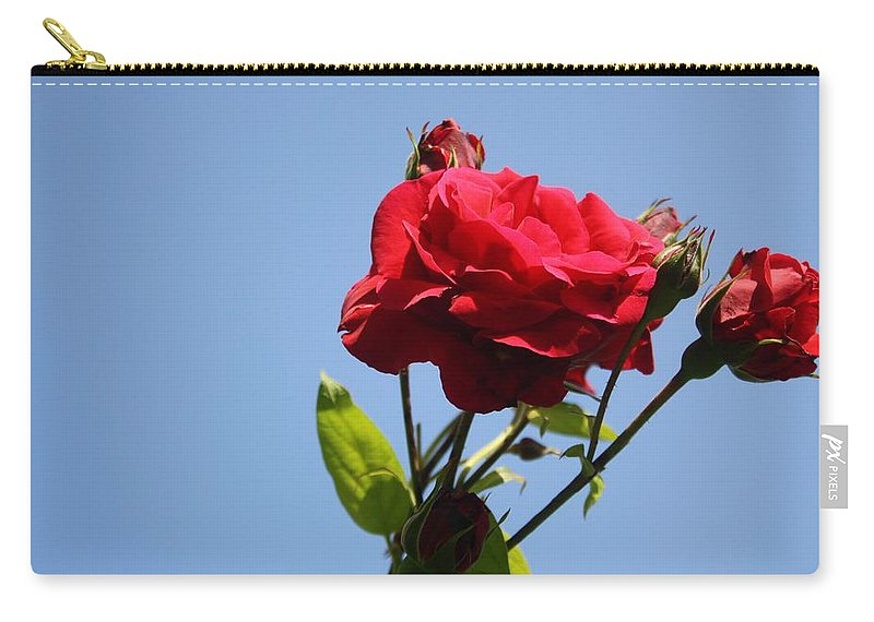 Rose Carry-all Pouch featuring the photograph Red Roses With Blue Sky Background by Taiche Acrylic Art