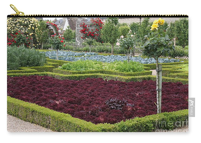 Salad Carry-all Pouch featuring the photograph Red Salad And Roses - Chateau Villandry Garden by Christiane Schulze Art And Photography