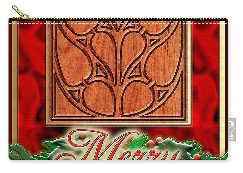 Christmas Carry-all Pouch featuring the digital art Red Satin Christmas by Melissa A Benson