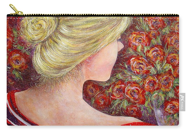 Female Carry-all Pouch featuring the painting Red Scented Roses by Natalie Holland