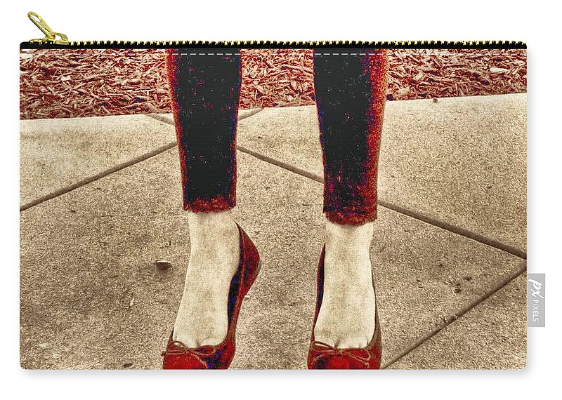 Red Shoe Print Carry-all Pouch featuring the photograph Red Shoes by Kristina Deane
