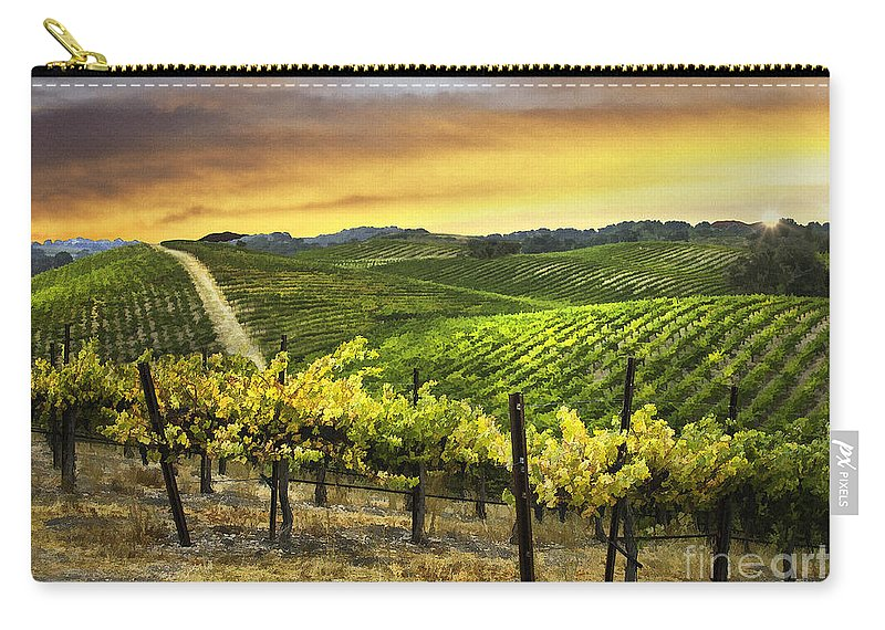 Vine Carry-all Pouch featuring the digital art Red Soles Sunrise by Sharon Foster