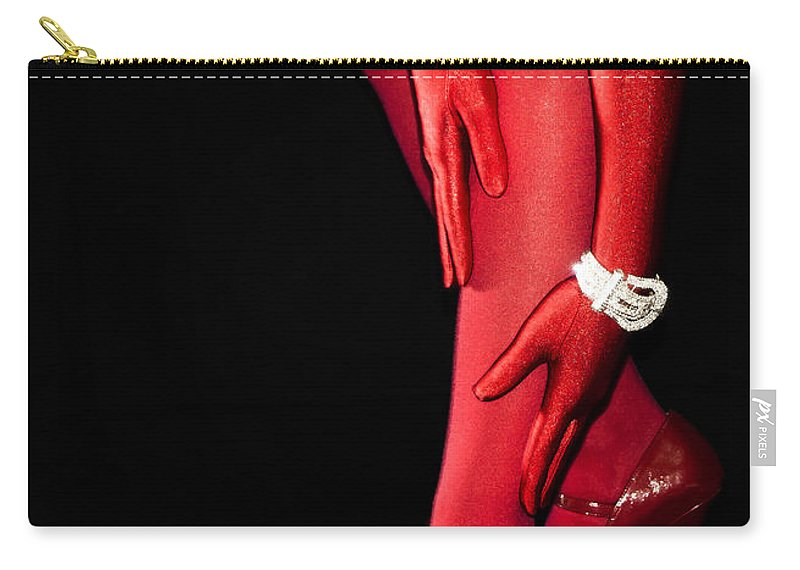 Stockings Carry-all Pouch featuring the photograph Red Stockings02 by Svetlana Sewell