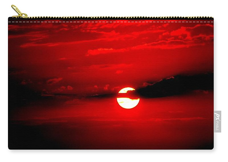 Sun Carry-all Pouch featuring the photograph Red Sun by Katie Beougher