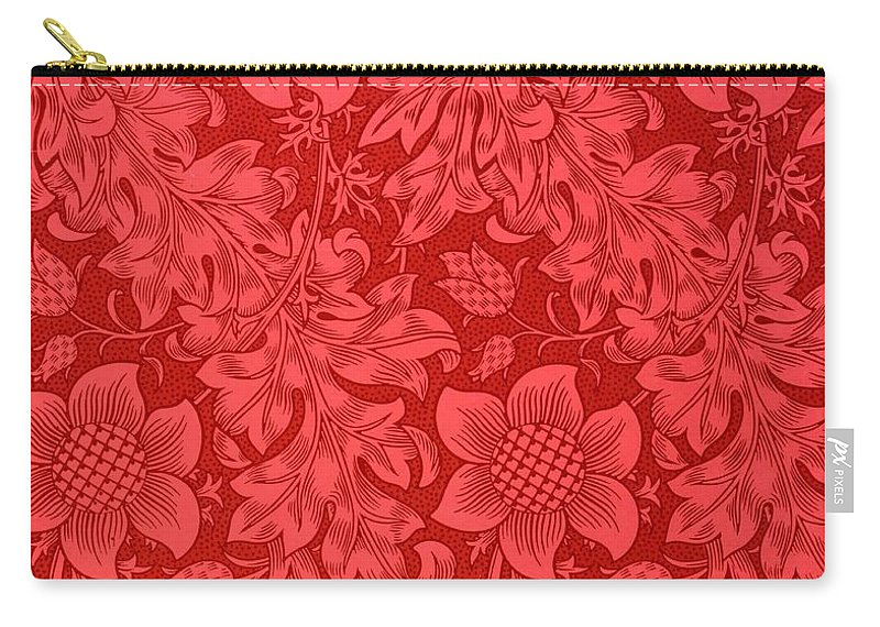 Red Sunflower Carry-all Pouch featuring the drawing Red Sunflower Wallpaper Design, 1879 by William Morris