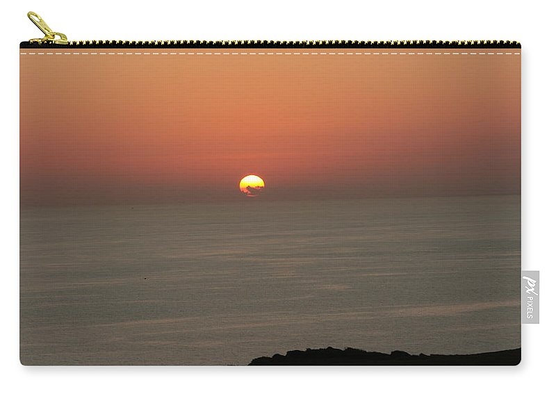 Red Sunset Over Sea Carry-all Pouch featuring the photograph Red Sunset Over Sea by Gordon Auld
