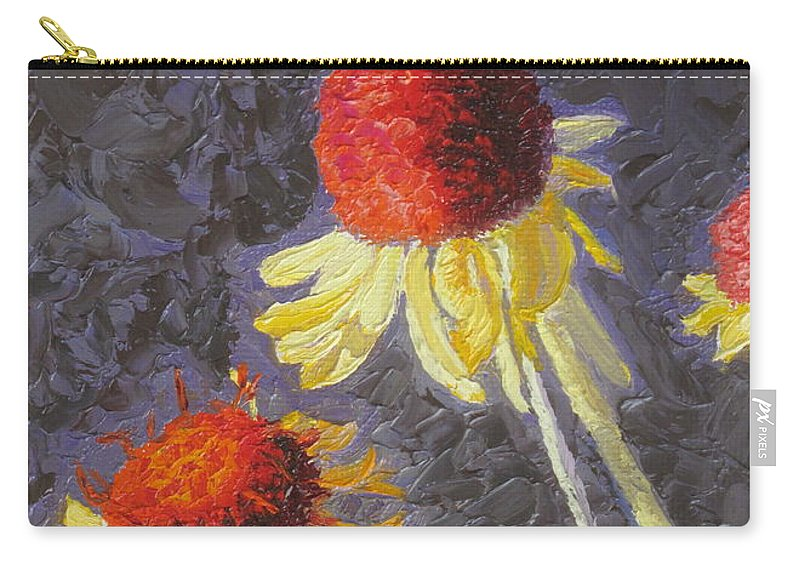 Flowers Carry-all Pouch featuring the painting Red Top Wildflowers by Lea Novak