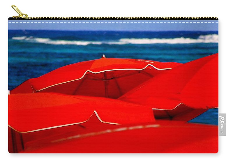 Umbrellas Carry-all Pouch featuring the photograph Red Umbrellas by Karen Wiles