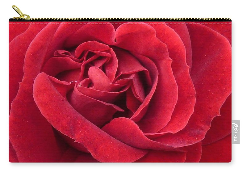 Flower Macro Carry-all Pouch featuring the photograph Red Velvety Rose by Lingfai Leung