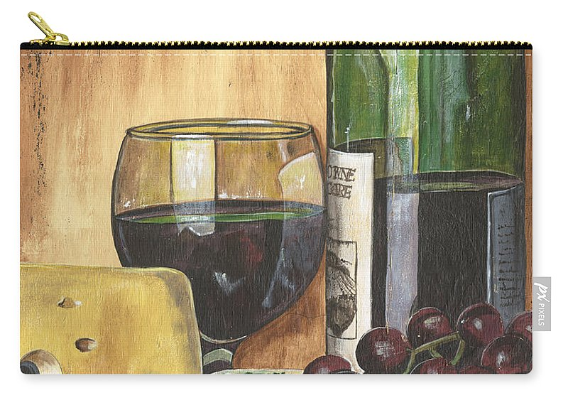 Red Wine Carry-all Pouch featuring the painting Red Wine And Cheese by Debbie DeWitt