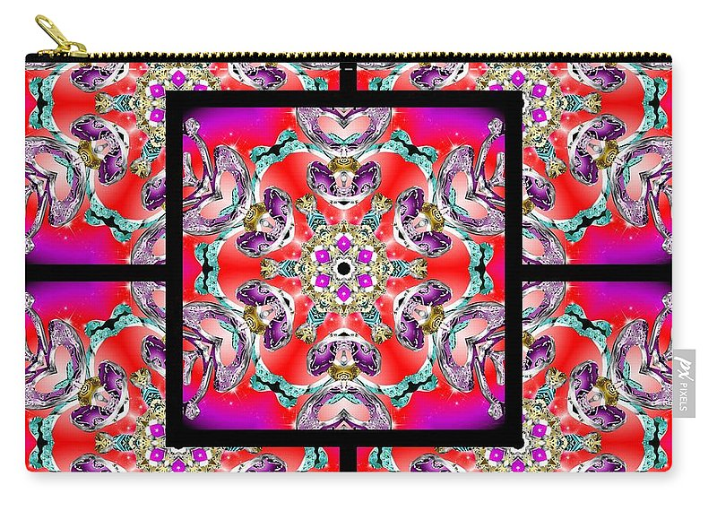 Sacredlife Mandalas Carry-all Pouch featuring the digital art Red Winter Solstice Page by Derek Gedney