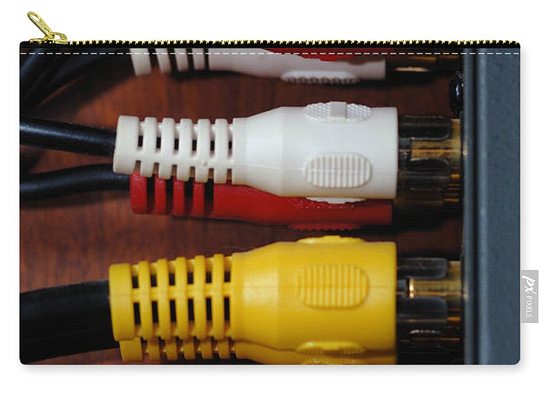 Access Carry-all Pouch featuring the photograph Red Yellow And White Cables by Amy Cicconi