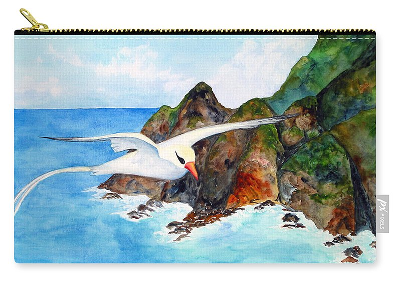 Red-billed Tropicbird Carry-all Pouch featuring the painting Redbilled Tropicbird by Patricia Beebe