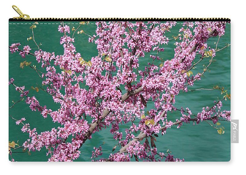 Redbud Carry-all Pouch featuring the photograph Redbuds Over San Antonio River by Carol Groenen