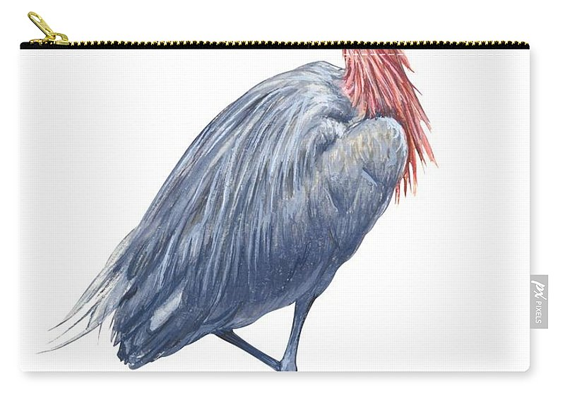 No People; Vertical; Side View; Full Length; White Background; One Animal; Wildlife; Close Up; Zoology; Illustration And Painting; Bird; Beak; Feather; Standing On One Leg; Reddish Egret; Egretta Rufescens Carry-all Pouch featuring the drawing Reddish Egret by Anonymous
