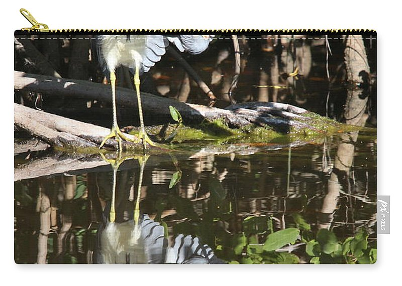 Greta Blue Heron Carry-all Pouch featuring the photograph Reflected Great Blue Heron by Christiane Schulze Art And Photography