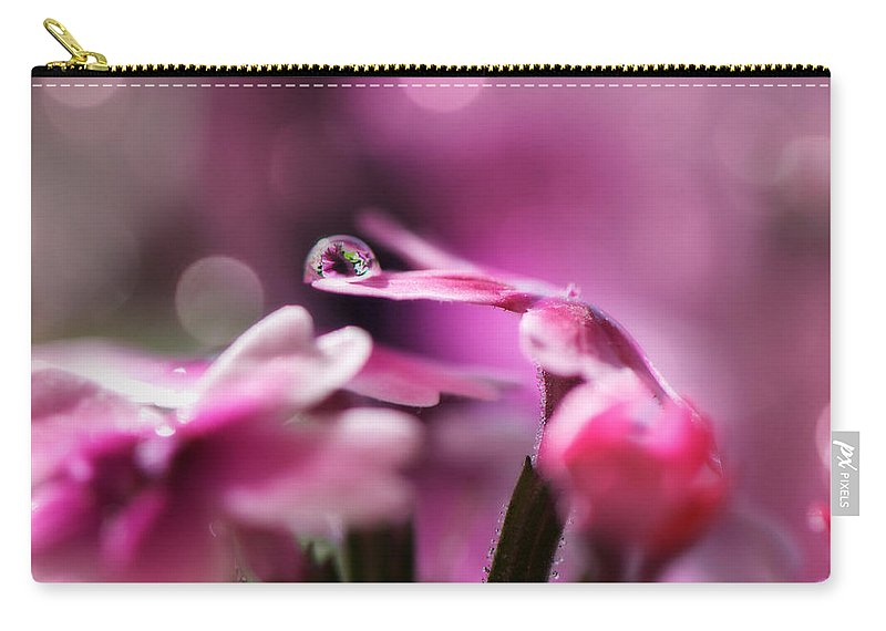 Water Drop Carry-all Pouch featuring the photograph Reflecting On Pink by Lisa Knechtel