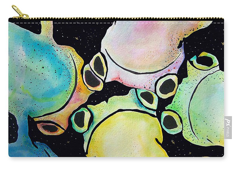 Pat Saunders-white Carry-all Pouch featuring the mixed media Reflecting Pond by Pat Saunders-White