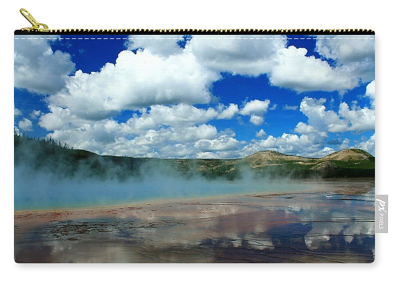 Yellowstone National Park Carry-all Pouch featuring the photograph Reflecting Springs by Catie Canetti