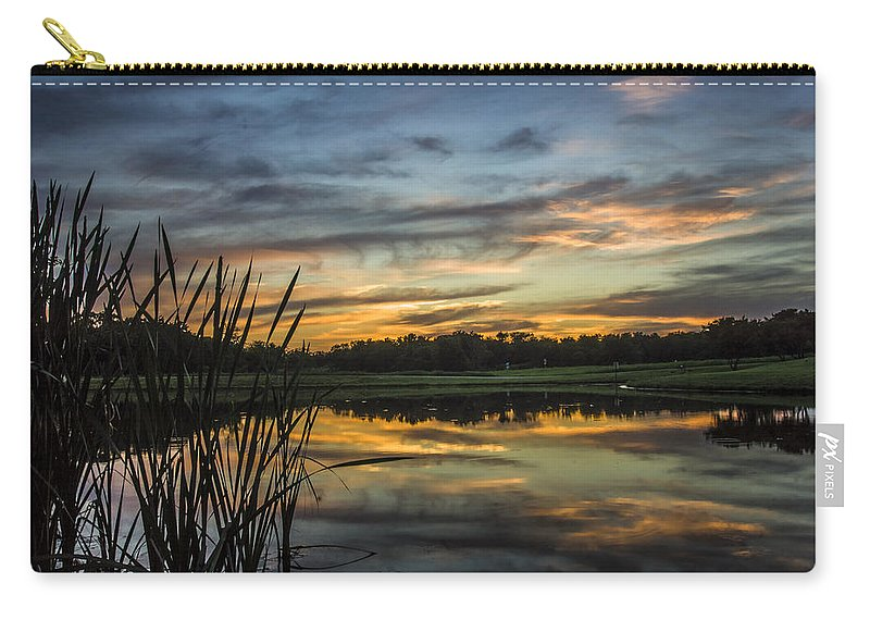 Carry-all Pouch featuring the photograph Reflection At Sunset With Cattails by Paul Brooks