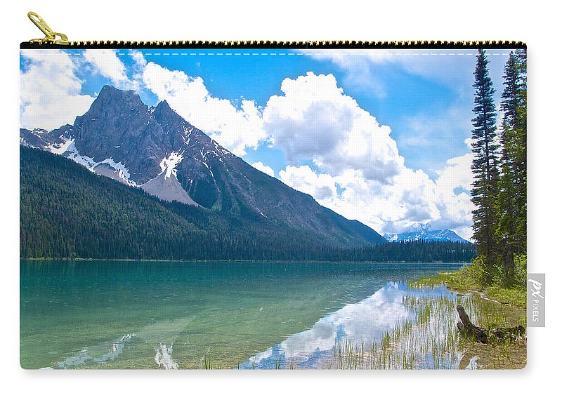 Reflection Of Glaciers And Clouds In Emerald Lake From Trail In Yoho Np Carry-all Pouch featuring the photograph Reflection Of Glaciers And Clouds In Emerald Lake In Yoho National Park-british Columbia-canada by Ruth Hager