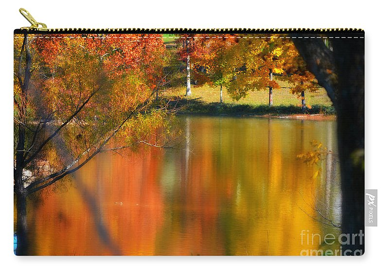 Autumn Carry-all Pouch featuring the photograph Reflection Of My Thoughts Autumn Reflections by Peggy Franz