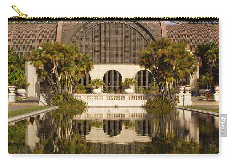 Botanical Building Carry-all Pouch featuring the photograph Reflection/lily Pond, Balboa Park, San Diego, California by Denise Strahm