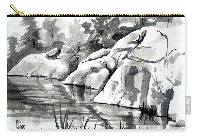 Reflections At Elephant Rocks State Park No I102 Carry-all Pouch featuring the painting Reflections At Elephant Rocks State Park No I102 by Kip DeVore