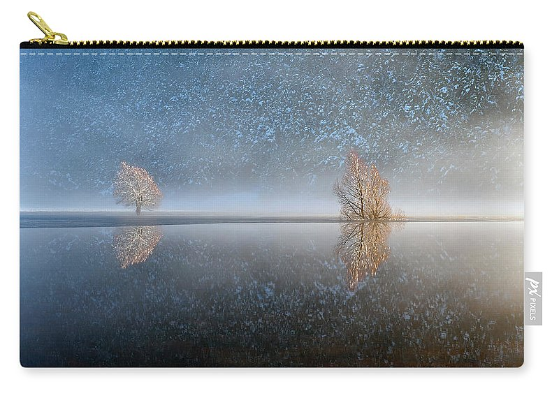 Scenics Carry-all Pouch featuring the photograph Reflections In A Lake In Winter, French by Jean-pierre Pieuchot