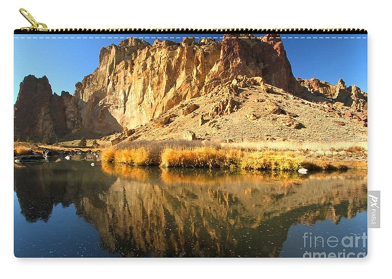 Smith Rock Carry-all Pouch featuring the photograph Reflections In The Crooked River by Adam Jewell