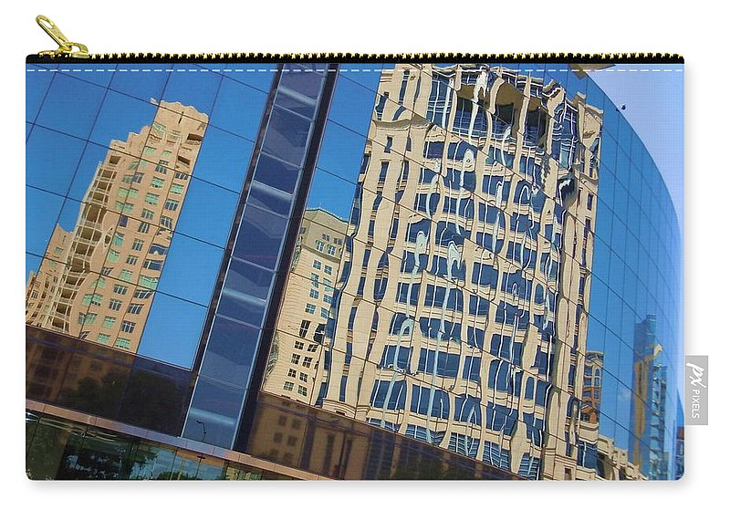 Reflections Carry-all Pouch featuring the photograph Reflections In The Rolex Bldg. by Robert ONeil