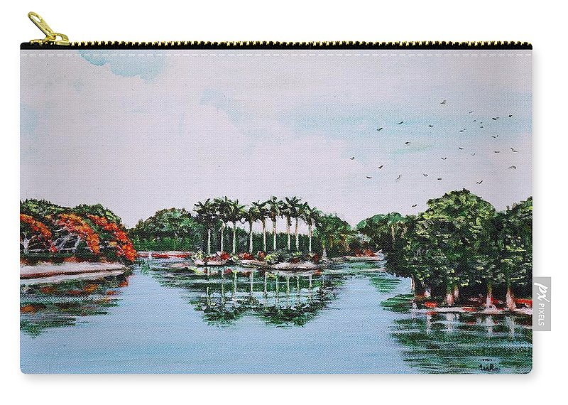 Lal Carry-all Pouch featuring the painting Reflections On Lal Bagh Lake by Usha Shantharam