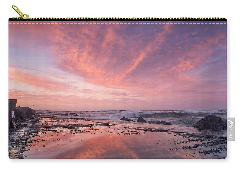 North Jetty Carry-all Pouch featuring the photograph Reflections On North Jetty Dusk by Greg Nyquist