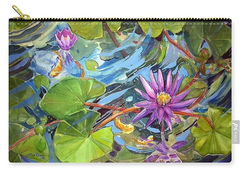 Waterlilies Carry-all Pouch featuring the painting Reflections by Sue Kemp