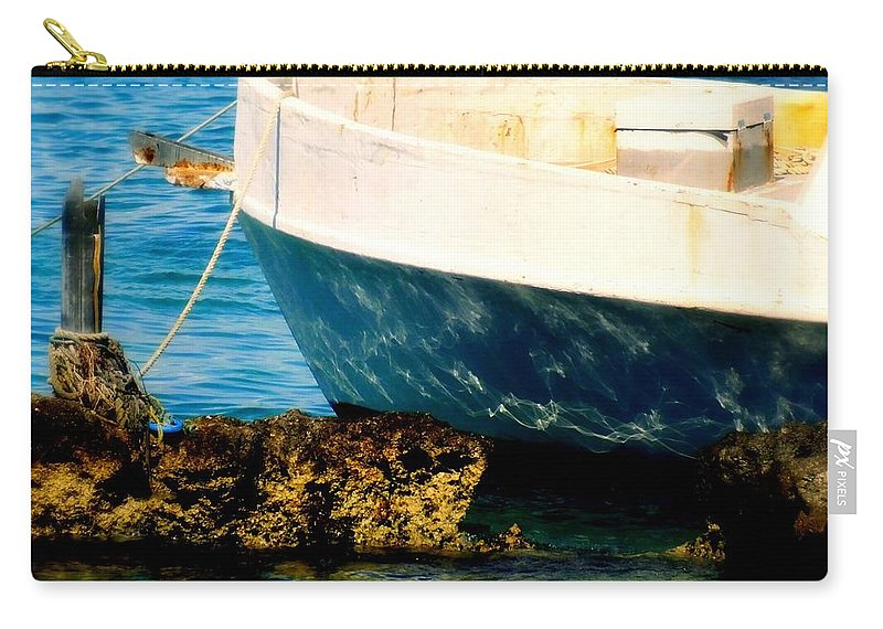 Boats Carry-all Pouch featuring the photograph Reflective Bow by Karen Wiles