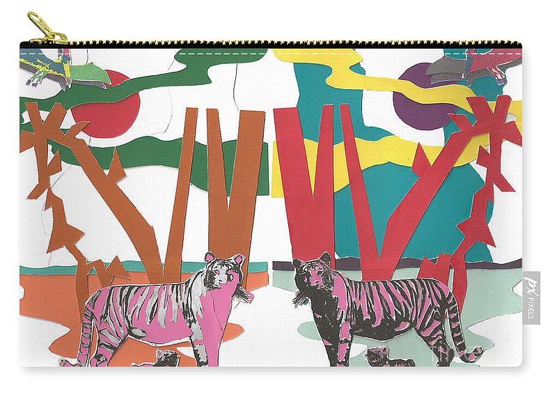 Animals Carry-all Pouch featuring the mixed media Reflective Protector by Charles M Williams
