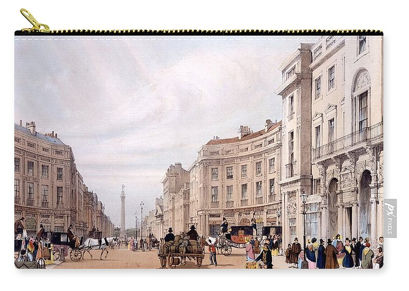 Regent Street Carry-all Pouch featuring the drawing Regent Street, Looking Towards The Duke by Thomas Shotter Boys