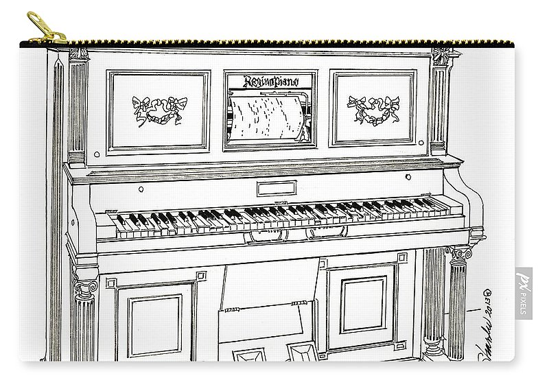 Regina Player Pianos Carry-all Pouch featuring the drawing Regina Player Piano by Ira Shander