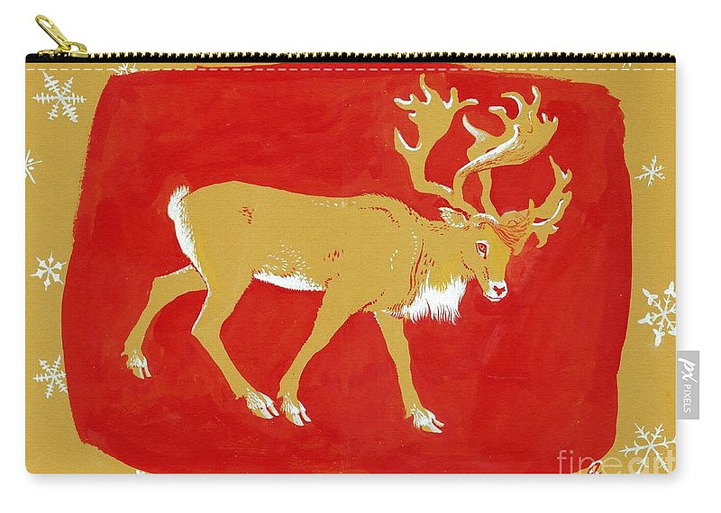 Christmas Card Carry-all Pouch featuring the painting Reindeer by George Adamson