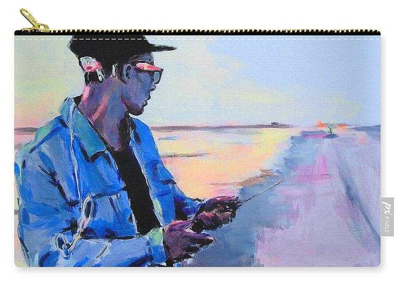 Rekkie Van Bimre Carry-all Pouch featuring the painting Rekkie Van Bimre by Lucia Hoogervorst