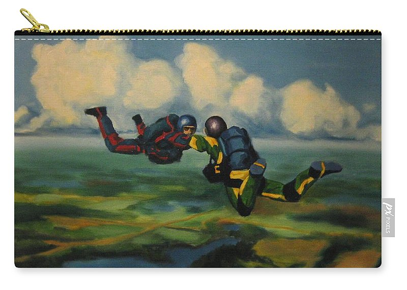 Skydivers Carry-all Pouch featuring the painting Relative Work by John Malone