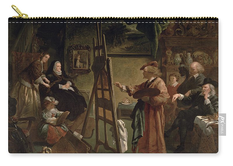Harmensz Carry-all Pouch featuring the painting Rembrandt In His Studio by Sir John Gilbert