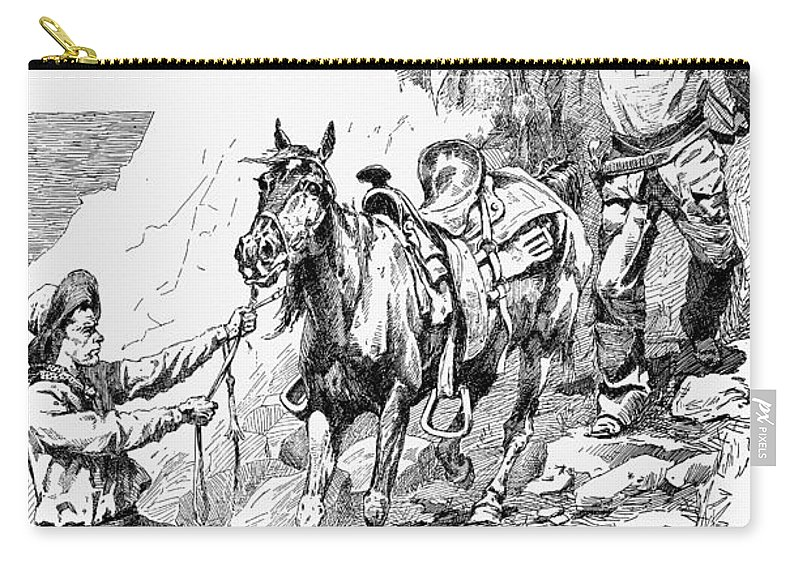 1887 Carry-all Pouch featuring the drawing Remington Cowboys, 1887 by Granger