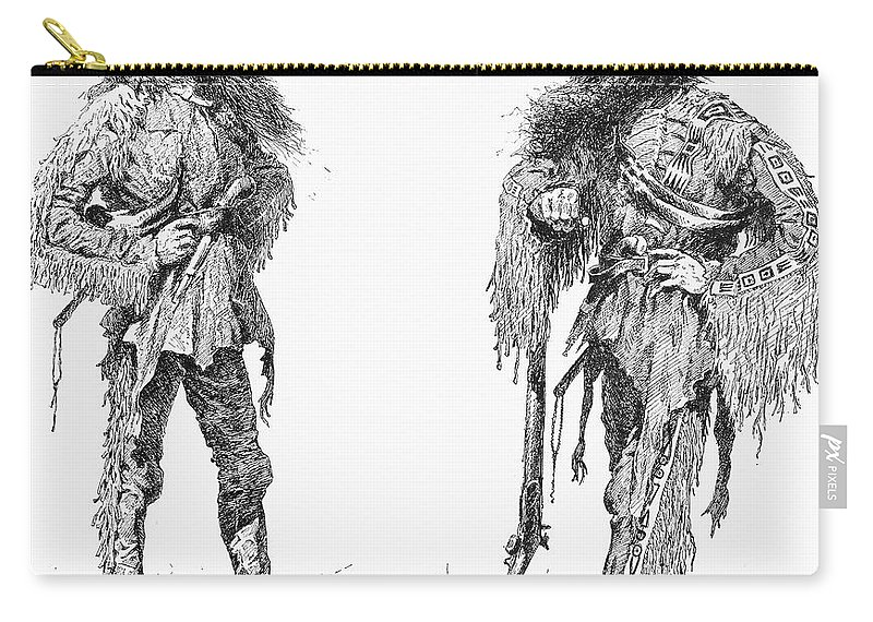 1890 Carry-all Pouch featuring the drawing Remington Frontiersmen by Granger