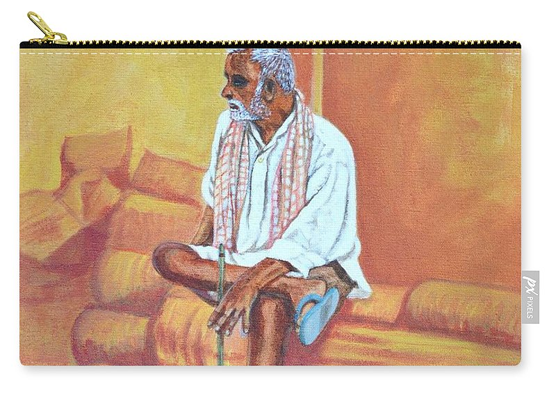 Usha Carry-all Pouch featuring the painting Reminiscing by Usha Shantharam
