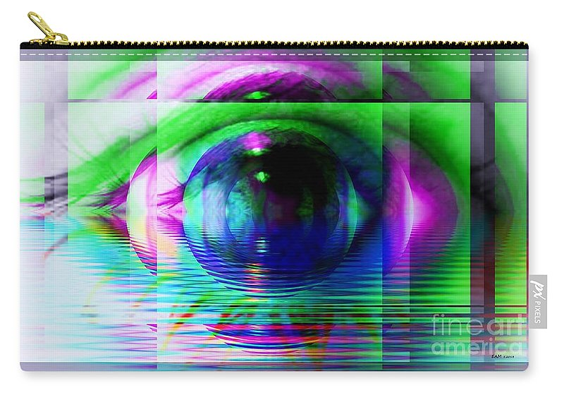 Fractal Art Carry-all Pouch featuring the digital art Remote Viewing by Elizabeth McTaggart
