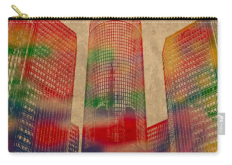 Renaissance Carry-all Pouch featuring the mixed media Renaissance Center Iconic Buildings Of Detroit Watercolor On Worn Canvas Series Number 2 by Design Turnpike