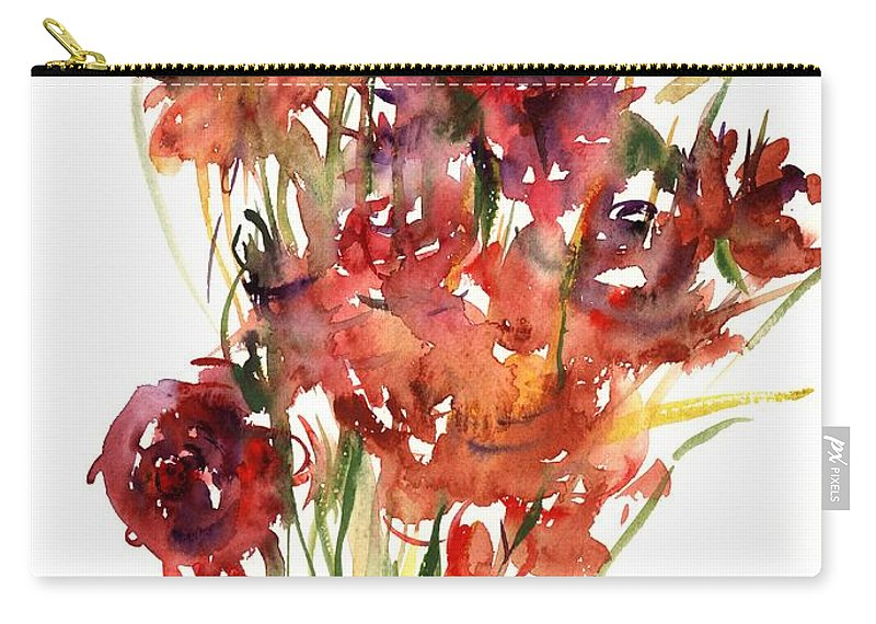Renoncules Carry-all Pouch featuring the painting Renoncules by Claudia Hutchins-Puechavy